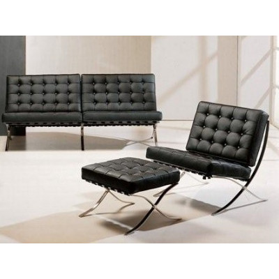 Диван Барселона 2 містний, крісло, оттоманка, чорний